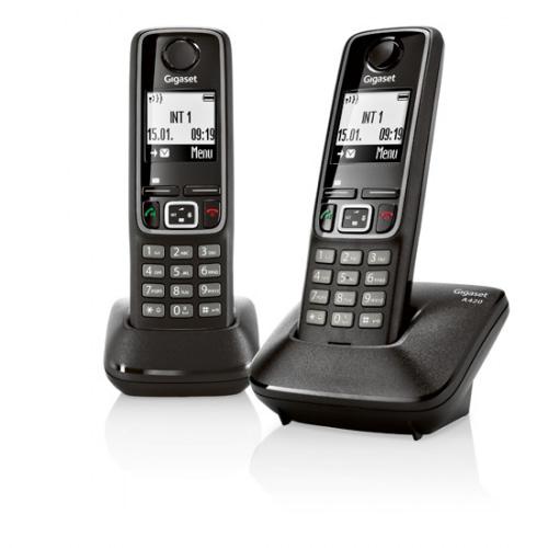 Gigaset A420 trådløs telefon med 2 håndsæt i farven sort