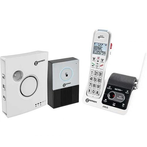 Trådløs telefon med telefonsvarer, dørtelefon og klokke