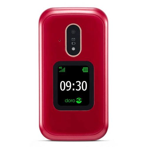 Doro 7081 rød ældrevenlig klaptelefon med høj lyd