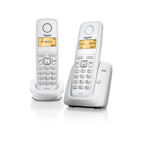 Gigaset A120 trådløs telefon med 2 håndsæt i farven hvid