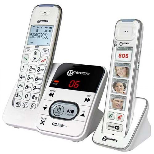 Trådløs telefon med telefonsvarer og håndsæt med fototaster
