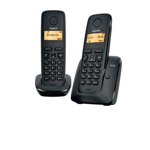 Gigaset A120 trådløs telefon med 2 håndsæt i farven sort