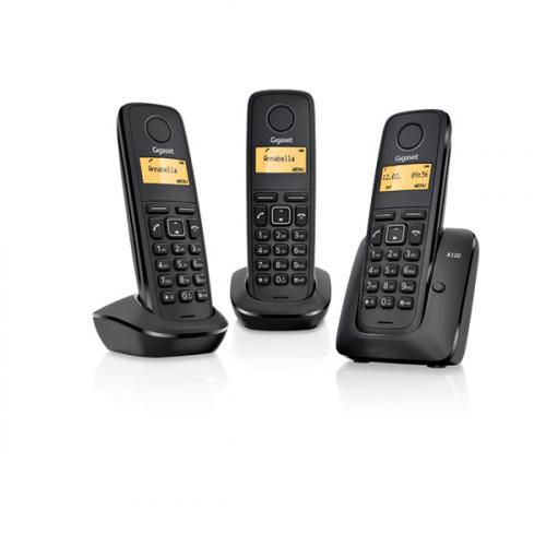 Gigaset A120 trådløs telefon med 3 håndsæt i farven sort