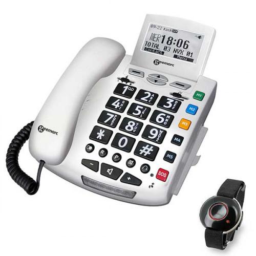 Geemarc fastnettelefon med nødkaldsarmbånd