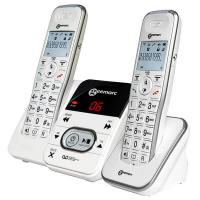 Trådløs telefon m 2 håndsæt og telefonsvarer